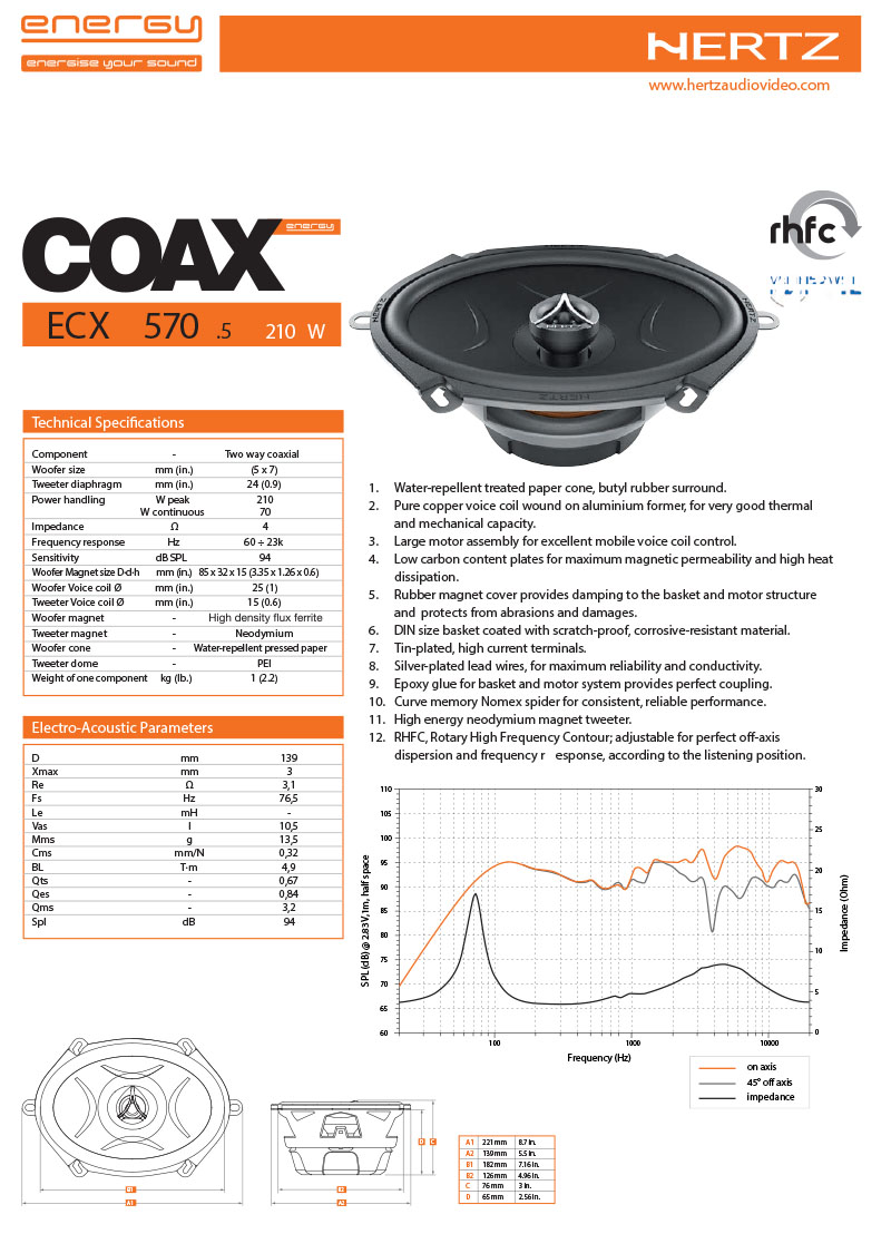 Hertz ECX 5705 Two Way Coaxial Calgary Car Parts and Accessories