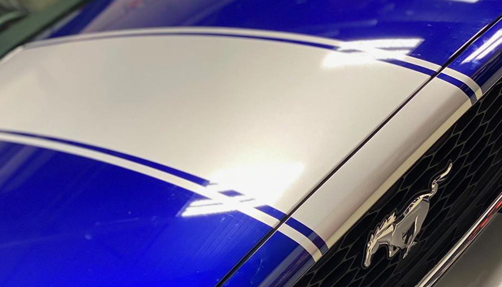 Blue Mustang Racing Stripes